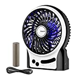 Battery Fan, EasyAcc Rechargeable Fan Protable Handheld Personal Mini DeskUSB fan with LG 2600mA Battery,3 Speeds Internal and Side Light,Cooling for Traveling,Fishing,Camping - Black