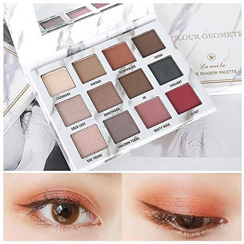 LEXUPE Palette d'ombres à paupières de Luxe de la Mode 12 Couleurs doré Mat Maquillage cosmétique(Blanc,34)