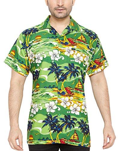 CLUB-CUBANA-Camisa-hawaiana-florar-casual-manga-corta-ajustado-para-hombre-M