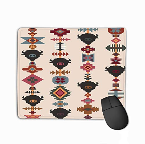 Mouse Pad Ethnic tribal Bull Skull tribal Bull Skull Decorative Ethnic Ornament Fun Rectangle Rubber Mousepad 11.81 X 9.84 Inch