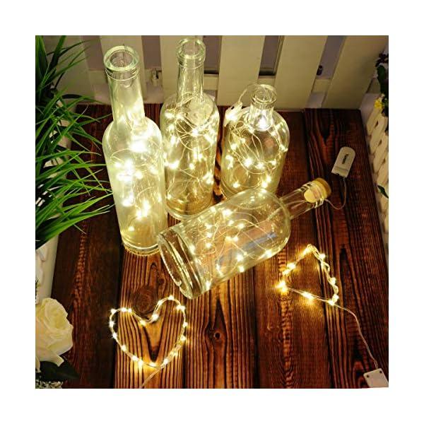 Yurnero – Guirnalda de luces LED con pilas, 10 paquetes de 20 luces LED de 2 metros, impermeable, para botella de…