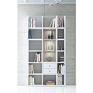 Wandregal Bücherregal Aktenregal TOLEO238 Hochglanz weiß, Eiche, LED