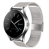 Rubility® K88H Bluetooth 4.0 SmartWatch Acero Inoxidable SmartBand Watch --- Plata (Seguimiento Salud / Monitor Ritmo Cardíaco / Podómetro / Recordatorio sedentario / Monitor Sueño / Mando a distancia, etc.)