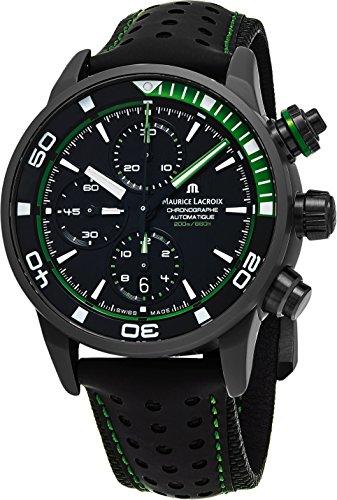 os S Extreme Diver Chronograph Herren Uhren–43mm schwarz Zifferblatt schwarz Leder Band Swiss Automatic Dive Uhr für Herren pt6028-alb01–332–1 (Schwarz Und Weiß Halloween-seite)