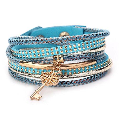 Armband COLORFUL Damen Multilayer Handmade Armband, Leder Armband Armreif (A)