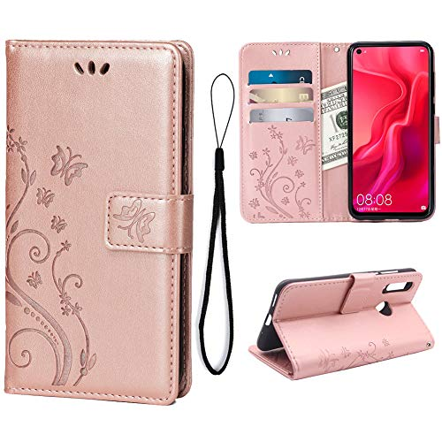 Teebo Brieftasche Hülle für Huawei Nova 4, 3 Kartenhalter Prägen Schmetterling Blume PU Leder Magnetisch Bookstyle Klapphülle für Huawei Nova 4(Rose Gold)