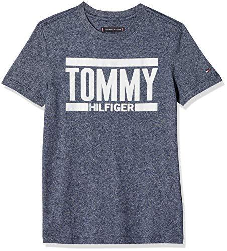 Tommy Hilfiger Jungen Essential+ Logo Tee S/S T-Shirt, per Pack Blau (Black Iris 002), 164 (Herstellergröße: 14)