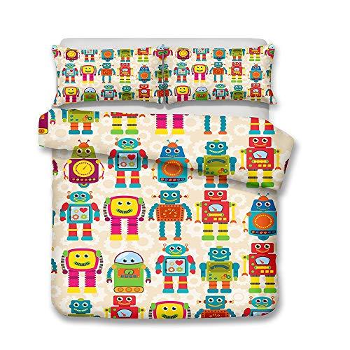 DANGONG BROTHERS Kinderbettbezug 3D Animal Print Effekt Quilt Bettwäsche Set, für Jungen Mädchen Teen Mehrere Designs Cartoon Kinder Bettwäsche,Picture1,Double -