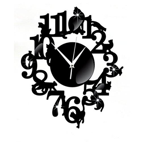 WINOMO Autocollant de Mural Miroir Horloge 3D Maison Décor Chat sur étagère Design (Noir)