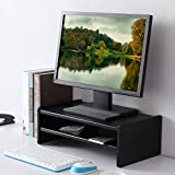 TAVR Wood Monitor Stands Screen Riser for Computers, Laptops & TVs 42.5 x 23.8cm Black CM1002