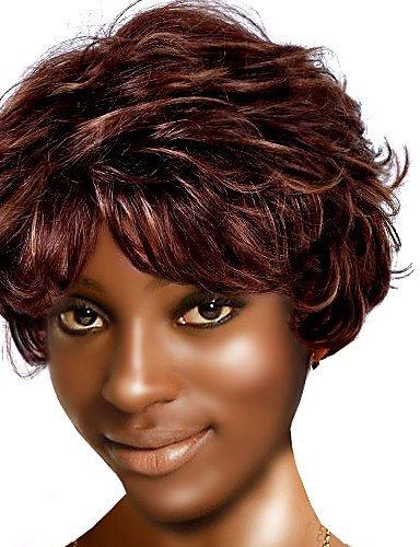 capless nature à court de haute qualité de synthèse chercher la lumière perruque brune cheveux bouclés (0463-280)