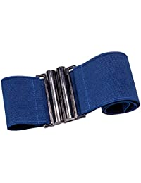 Stretchgürtel DUNKEL-BLAU 6 cm elastischer Taillengürtel Stoffgürtel mit solider silberfarbener Schnalle