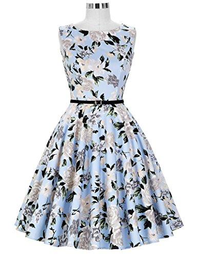 1950er rockabilly kleid ärmellos sommerkleid a linie festliches kleid abschlussballkleid Größe S CL6086-41 - 5