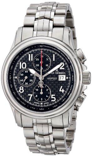 Revue Thommen Reloj los Hombres Airspeed Carbon Automática Cronógrafo 16041.6137