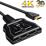 HDMI-Switch 4K, HOSHDA 3 Port 4K HDMI Switcher HDMI Splitter mit Pigtail Kabel, unterstützt 4K/Full/1080P /3D HD Audio für Nintendo Switch PS4/PS3/Xbox/STB/Apple TV/DVD Player