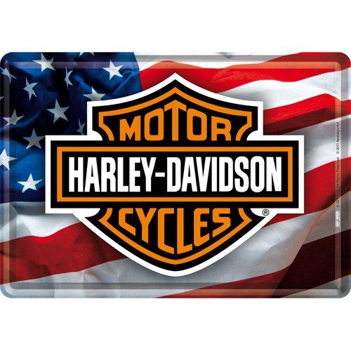 Placca metallica, motivo: bandiera USA e logo Harley Davidson, 10 x 14 cm