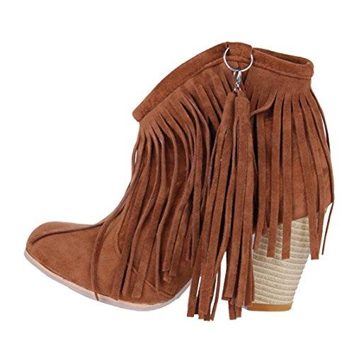 AIYOUMEI Damen Nubukleder Wildleder Blockabsatz Ankle Boots Klassischer Stiefeletten mit Fransen