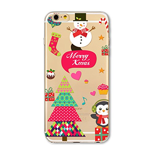 Noël Coque iPhone 7 Plus / iPhone 8 Plus LifeePro Ultra Mince Transparent Doux TPU Gel Silicone Antichoc Anti-rayures Full Body Étui Housse de Protection Christmas Cover pour iPhone 7 Plus / iPhone 8  Merry Xmas 2