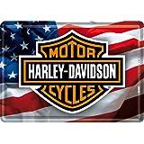 PLAQUE METAL MOTO LOGO DRAPEAU AMERICAIN - LICENCE HARLEY DAVIDSON - 10x14 cm - FRAIS OFFERT
