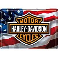 Nostalgic-Art - Cartel de Chapa de Tarjeta Postal con Texto Harley Davidson Motorcycles, diseño de Bandera de EE. UU.