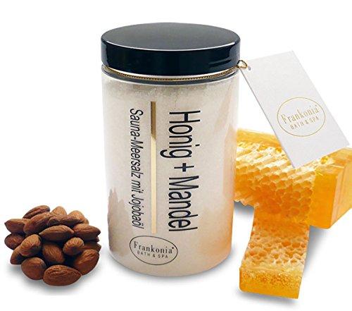 Sauna Salz Honig Mandel Meersalz mit Jojobaöl, Körperpeeling 400 g von WellDream Test