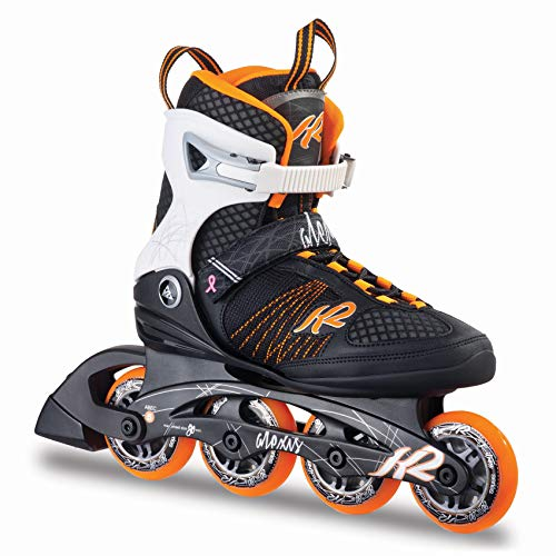 K2 Damen Inline Skates Alexis 80, ABEC 5 Kugellager 80mm Rollen 80A Softboot, orange-weiß-schwarz, 36.5 EU (4 UK), 30A0104.1.1.065