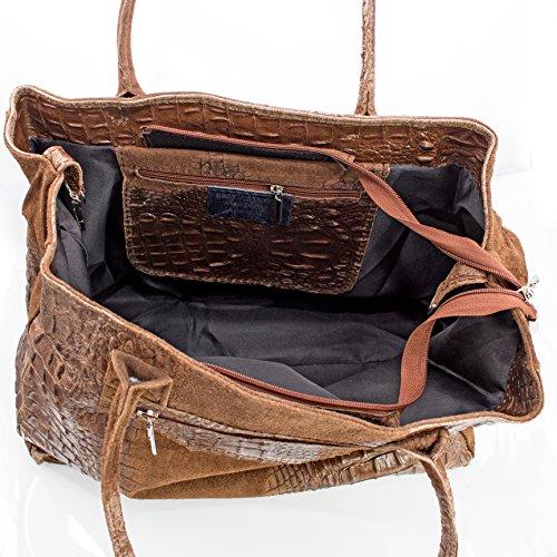 Echt Leder Damentasche Shopper Ledertasche Schultertasche Wildleder (dunkelbraun) dunkelbraun