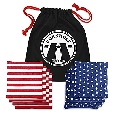GoSports American Flag Cornhole Bean Bag Set with Tote Bag
