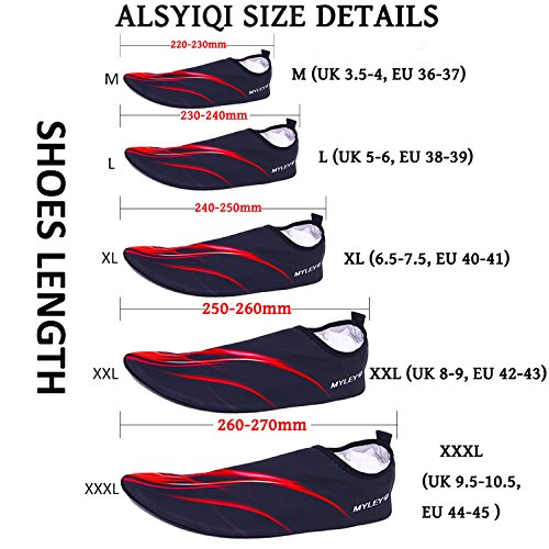 ALSYIQI Barefoot Shoes Men Women Quick-Dry Water Shoes Lightweight Aqua Socks For Beach Pool Surf Yoga Exercise Red