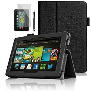 """GadgetinBox™ - Black New Kindle Fire HD 7"""" 2013 Version Multi Functional Case With Sleep/Wake Feature + Screen Protector & Stylus Pen (Not for HDX or Kindle HD 2012 Model)"""