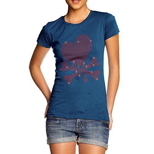 Damen Herz Beschnitt Strass mit Bio Baumwolle T-Shirt Blau - Königsblau