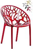 CLP Design-Gartenstuhl Crystal aus Kunststoff I Wetterbeständiger Stapelstuhl mit Einer maximalen Belastbarkeit von 160 kg I wählbar Rot