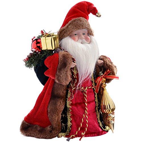 WeRChristmas - Puntale per albero di Natale a forma di Babbo Natale, 30 cm, rosso/oro