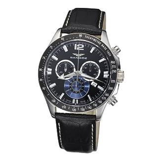 Sandoz 72579-05 – Reloj de Caballero de Cuarzo, Correa de Piel Color Negro