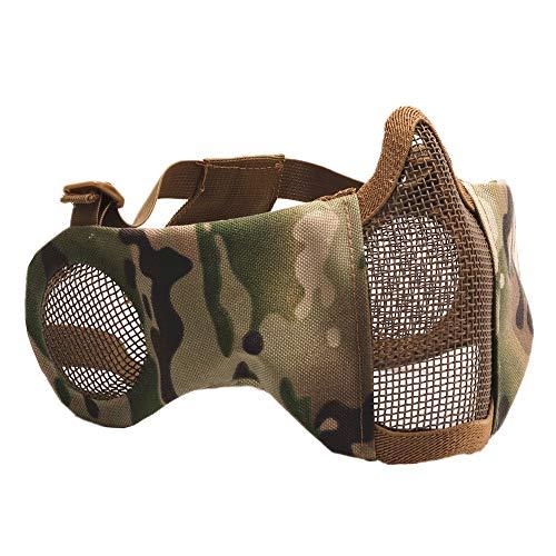 CARACHOME Outdoor militär CS Maske, Half Face Taktische Maske, Outdoor Sports Airsoft Maske mit verstellbarem Gurt, geeignet für BB Gun Cosplay Kostüm Jagd Paintball,B