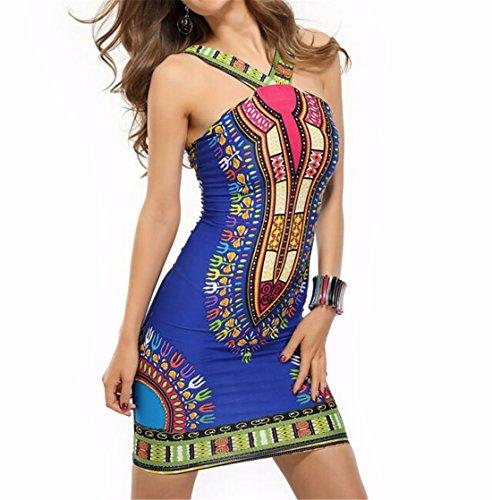 QIYUN.Z Vintage Gedruckten Neckholder-Verpackungskasten Frauen Bodycon Nehmen Clubwear Parteikleid Blau