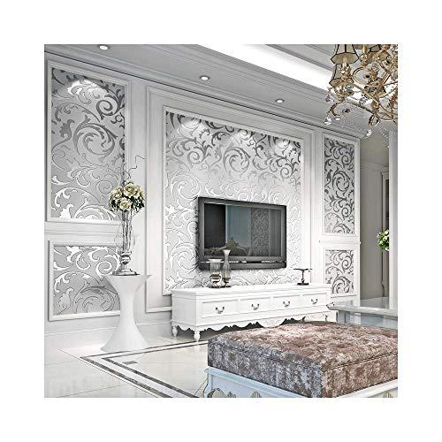 SLQZ 3D Brick Tapete, moderne Vlies Swire Brick Muster Tapete Home Decor Tapete für Home Wohnzimmer Schlafzimmer Indoor und TV Hintergrund [Silber Farbe]
