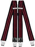 Decalen Hosenträger für Herren mit 4 Starken Clips X Form Lang Eine Größe Passt Alle Verschiedenen Farben (Schwarz Rot)