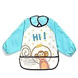 Oral-Qunisex - kinder childs kunst - handwerk gemälde schürze baby wasserdicht lätzchen mit ärmeln & tasche, 6-36 monate, einen dunkelblauen affe, reihe 1
