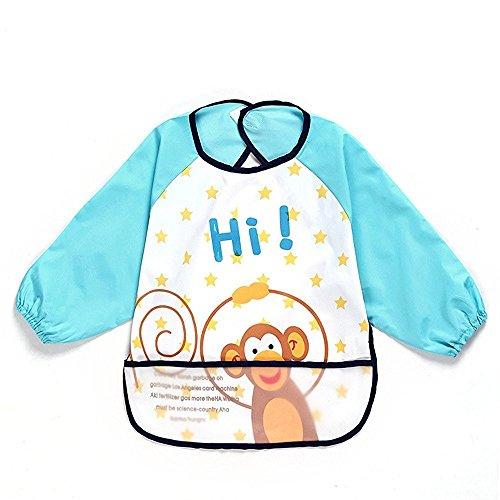 sohv Unisex Bambini Arts Craft pittura grembiule bambino impermeabile Bavaglino con maniche e tasca, 6-36mesi, una scimmia blu scuro, Set di 1