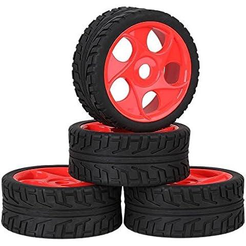 Youzone 17 millimetri Hex Rosso plastica 5 fori cerchione + Nero High Grip pneumatici in gomma con la spugna per RC 1: 8 Off Road Car Buggy (confezione da 4)