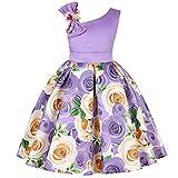 MRURIC Kinder Mädchen Floral Princess Floral Gown Party Tutu-Kleid,Garn Rock modegedruckten Hemd Kleid Kleidung setzen Hemdkleid Baby Kleid Tanzkleidung Ballkleid Partykleid (100, Lila①)