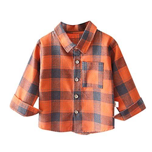 Baby Jungen Kleidung Kolylong® Kleinkind Kariert Langarm Hemd mit Tasche Button Down Hemden Baumwolle T-Shirts Gentleman Kleidung 12 Monate - 5 Jahre