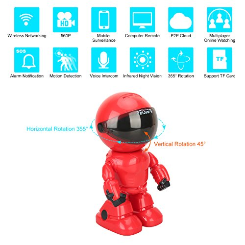 HD wireless Robot IP Camera,FAITH 960P Security Camera 1.3MP CMOS Baby Monitor Pan Tilt Remote Home Security P2P IR Night Vision for Mobile Android/IOS and Laptop (Red)