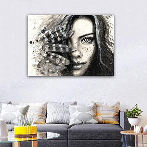 Cyalla Moderne Wandkunst Abstrakte Feder Sex Mädchen Gesicht Poster Und Druck Wanddekoration Leinwand Malerei Für Wohnzimmer Wohnkultur 60X80 cm