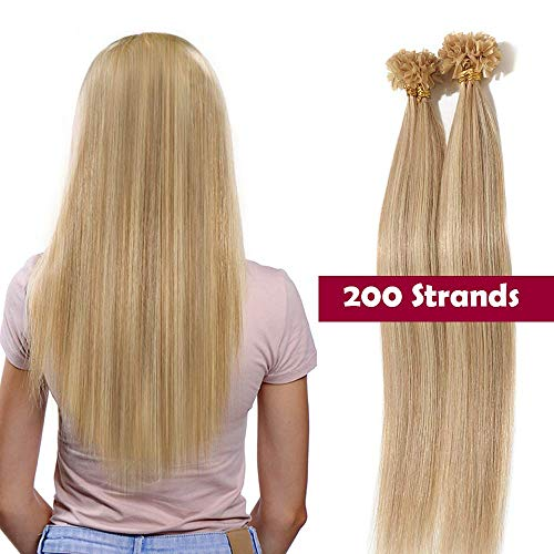 Extension capelli veri cheratina 200 ciocche - 100% remy human hair u tip hair extensions bionde balayage 100g (40cm #18p613 biondo cenere mix biondo chiaro)