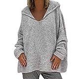 YEBIRAL Jerséis para Mujer Otoño e Invierno Suelto Color Sólido Basicas Suéter Sudadera con...