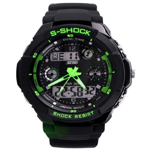 Fashion Sport Armbanduhr Multifunktions Dual Time LED Analog Digital Wasserdicht Alarm s-shock Armbanduhr 0931, Jungen damen Herren, grün (G-shock-watch-gelb Und Schwarz)