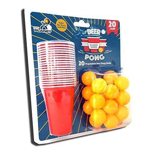 #My Planet Ultimate 40 Piece Beer Pong Party Drinking Game Set – Includes 20 x Balls + 20 x Red Cups#