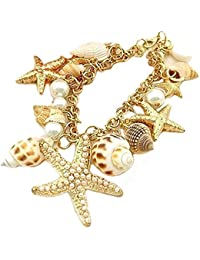 Statement Bracelet with Various Sea Objects | Bracelet Ocean Art | Starfish + Shell Pearl + Perfect Accessory for the Summer